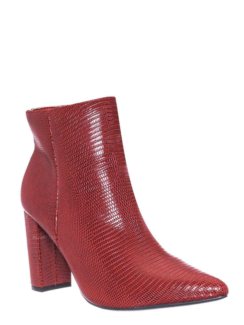 Red Lizzard / Bellflower09 Pointed Toe Block Heel Bootie - Women Croc & Suede Ankle Pump Boot
