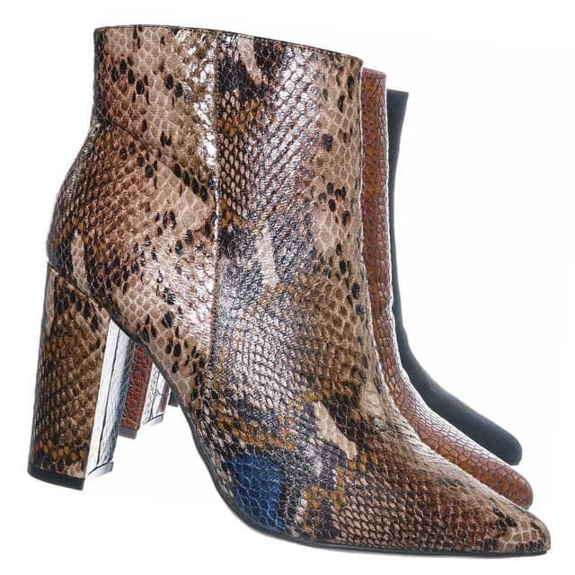 Tan Snake / Bellflower09 Pointed Toe Block Heel Bootie - Women Croc & Suede Ankle Pump Boot