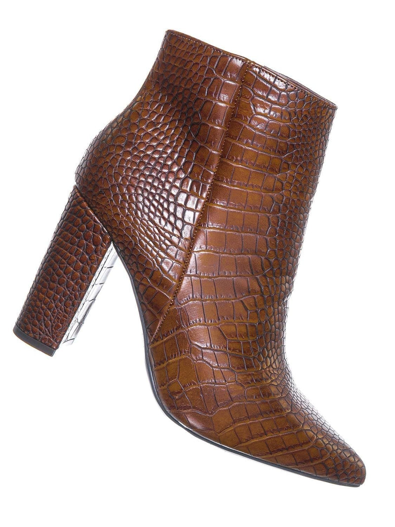 Crocodile Prints / Bellflower09 Pointed Toe Block Heel Bootie - Women Croc & Suede Ankle Pump Boot