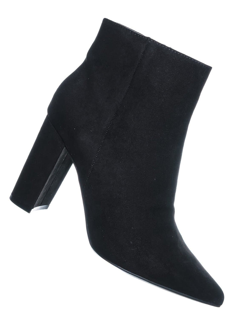 Black F-Suede / Bellflower09 Pointed Toe Block Heel Bootie - Women Croc & Suede Ankle Pump Boot