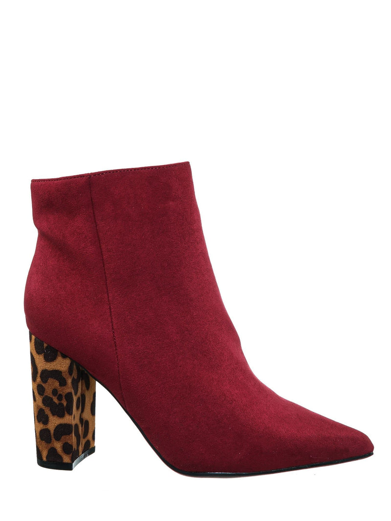 Wine Red / Bellflower09 Pointed Toe Block Heel Bootie - Women Croc & Suede Ankle Pump Boot
