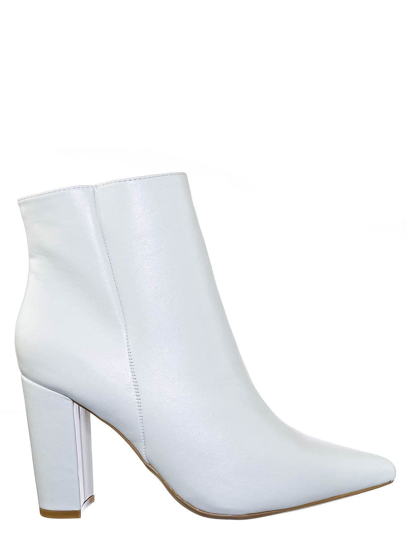 White Crp / Bellflower09 Pointed Toe Block Heel Bootie - Women Croc & Suede Ankle Pump Boot