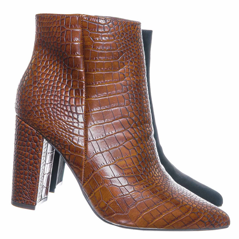 Bellflower09 Pointed Toe Block Heel Bootie - Women Croc & Suede Ankle Pump Boot