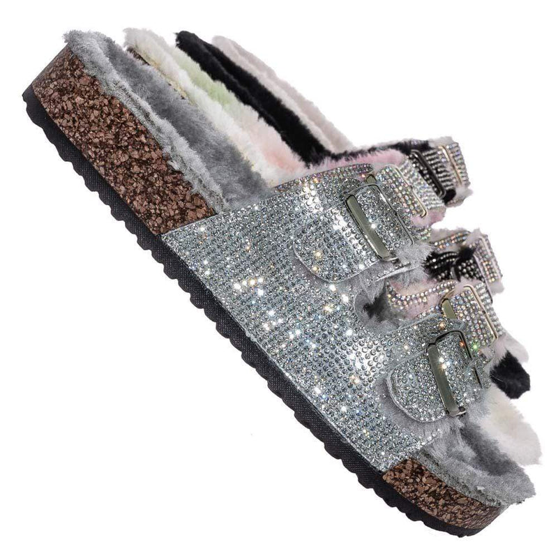 Silver / Benefit31 Fur Lined Footbed Slides