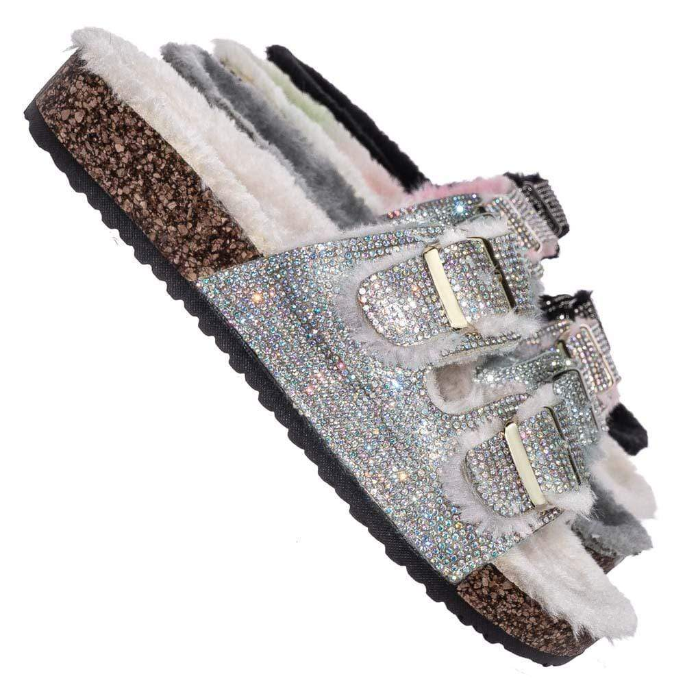 Rainbow / Benefit31 Fur Lined Footbed Slides