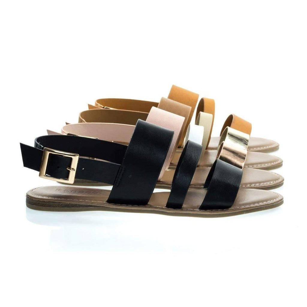 Bliss52m Multi Colored Open Toe Flat Sandal In Faux Leather 7 Metallic Straps