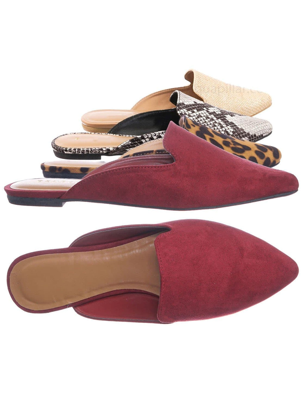 Wine Red / Blog44 Slip On Mule Slippers - Women Flat Backless Pointed Toe Pump