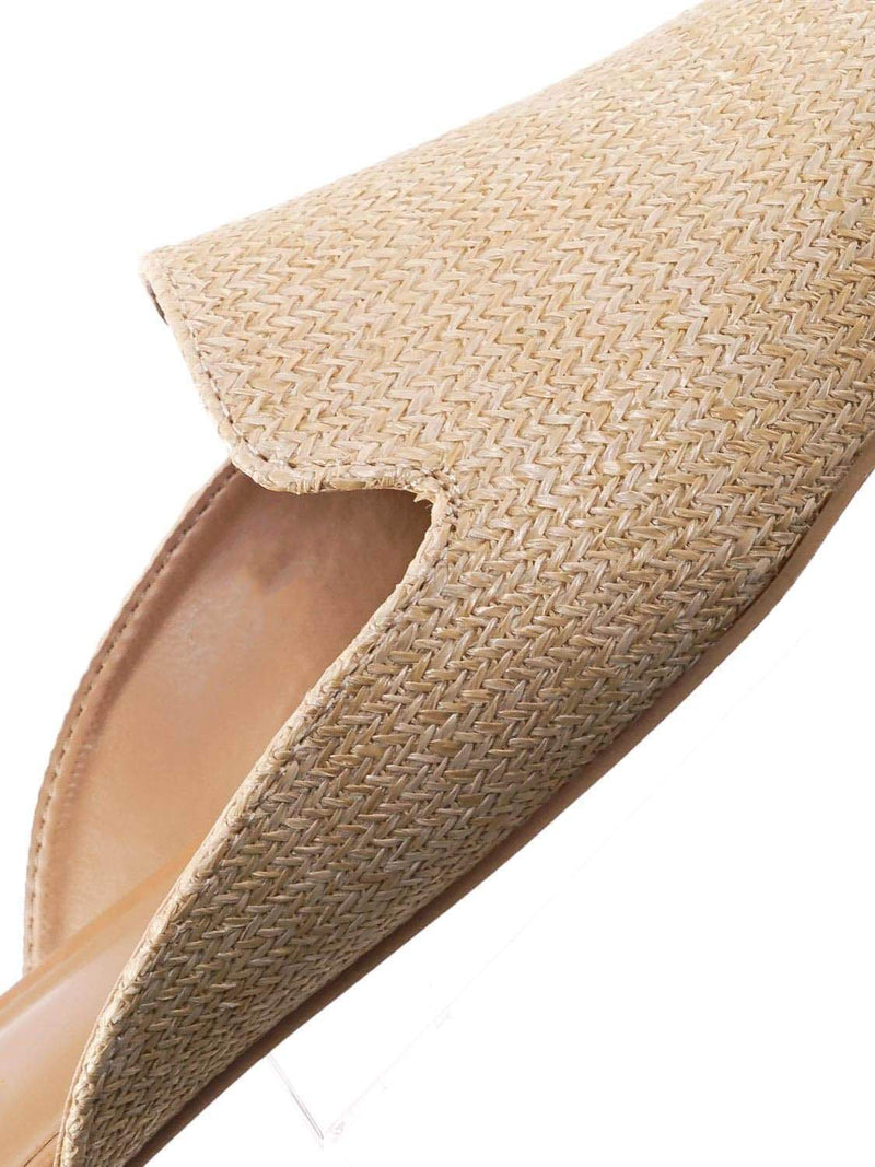 Natural Raffia / Blog44 Slip On Mule Slippers - Women Flat Backless Pointed Toe Pump