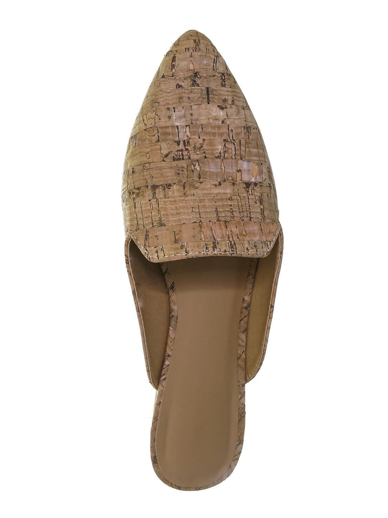 Natural Cork / Blog44 Slip On Mule Slippers - Women Flat Backless Pointed Toe Pump