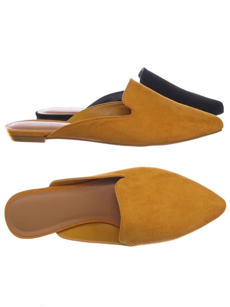 Mustard Yellow / Blog44 Slip On Mule Slippers - Women Flat Backless Pointed Toe Pump