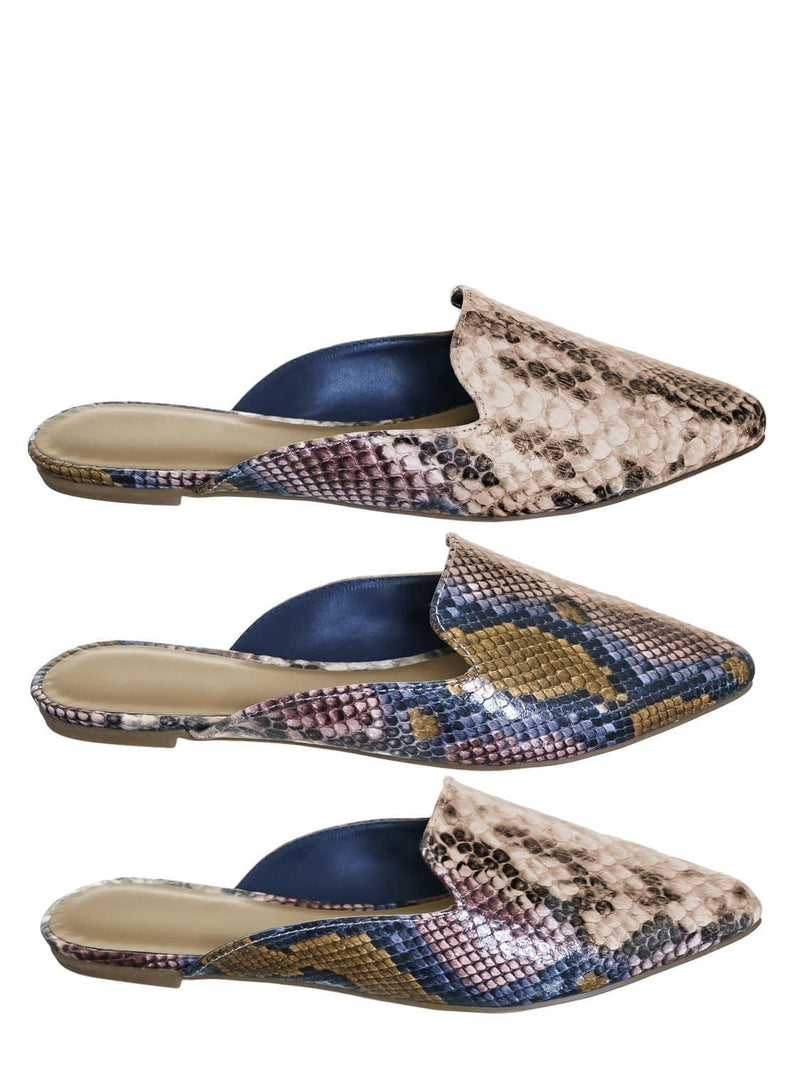 Camel Snake / Blog44 Slip On Mule Slippers - Women Flat Backless Pointed Toe Pump