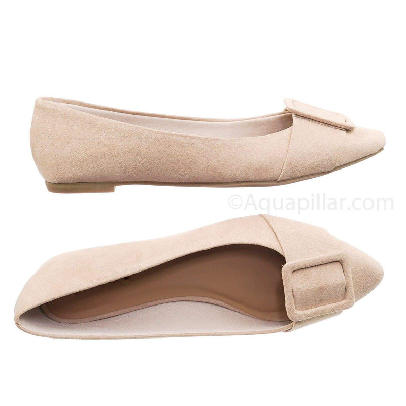 Nude Beige / Blog57 NudFs Pointed Toe Flats - Women Dressy Ballet Shoes w Puritan Square Buckle