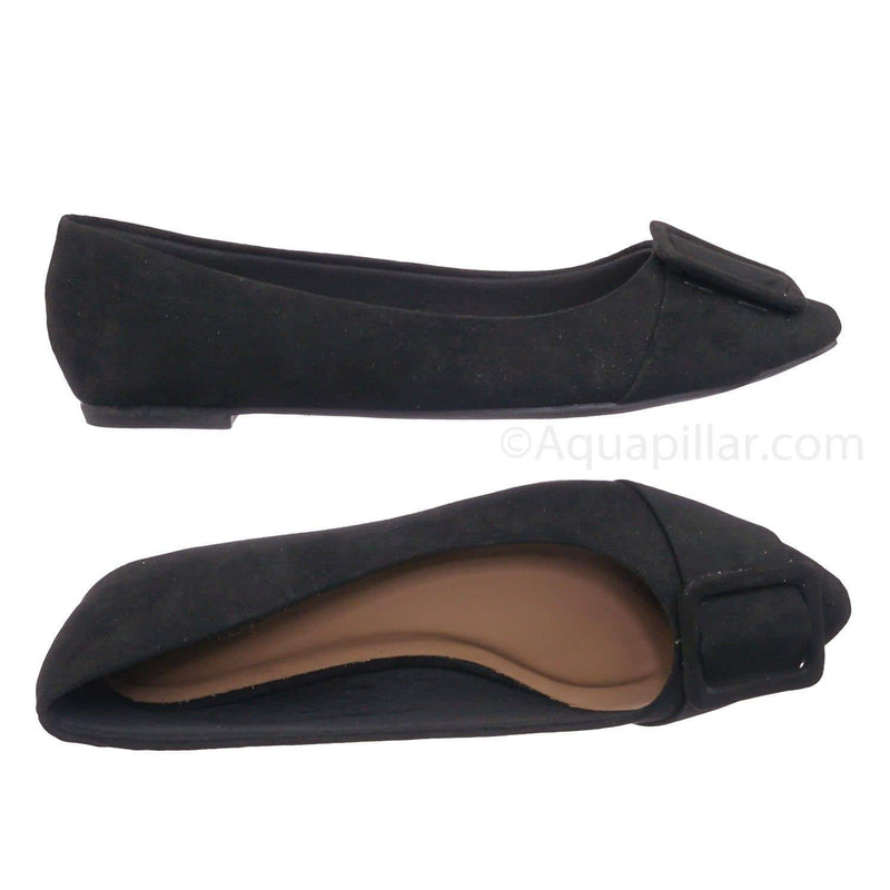 Black Pu / Blog57 BlkFs Pointed Toe Flats - Women Dressy Ballet Shoes w Puritan Square Buckle