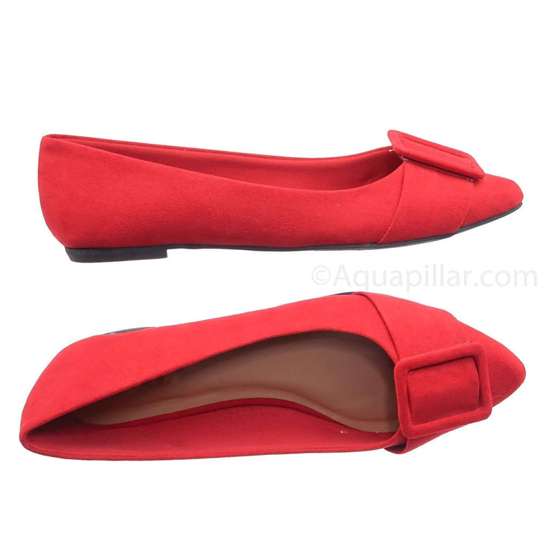 Red Pu / Blog57 RedFs Pointed Toe Flats - Women Dressy Ballet Shoes w Puritan Square Buckle