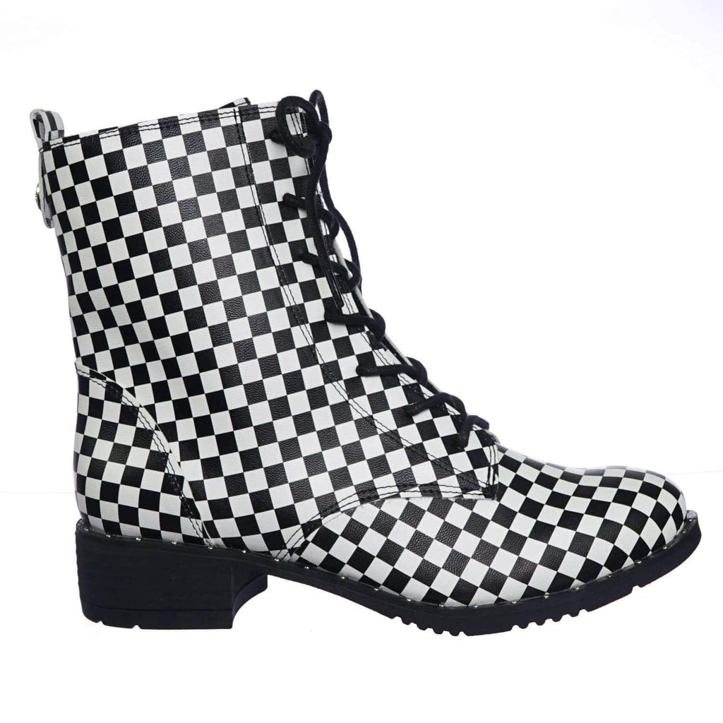 Bonfire01 BlkWht Faux Fur Lined, Checkered Print Military Combat Boots w Metal Stud Felt
