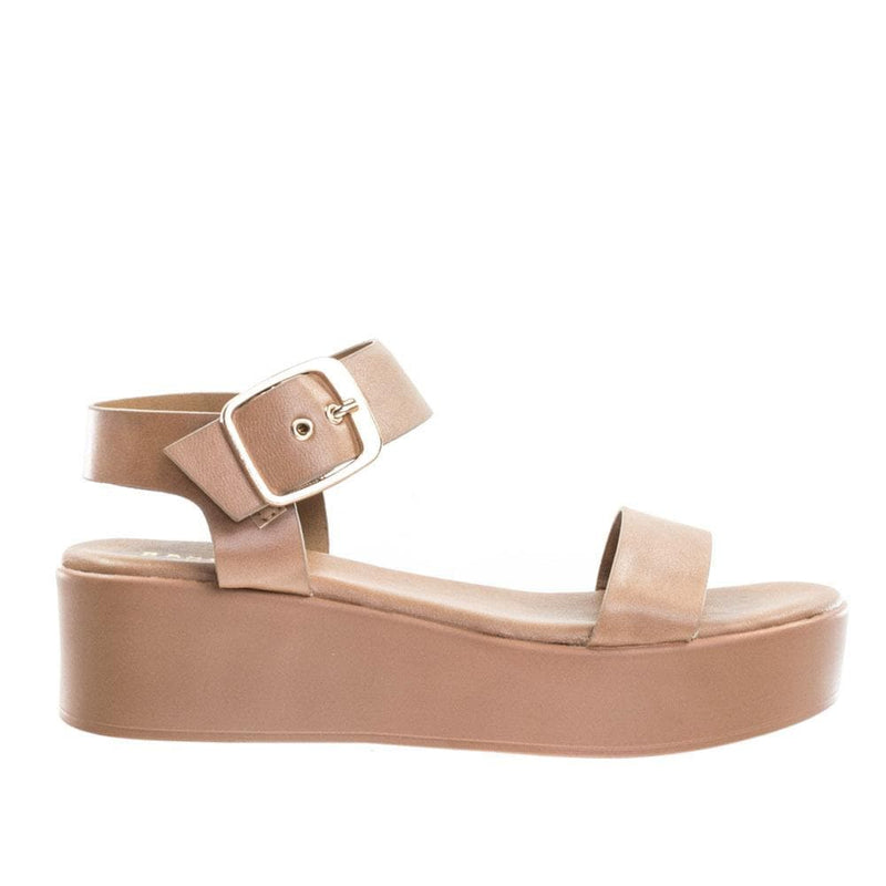 Bonus12 by Bamboo Flatform Open Toe Sandal w Adjustable Ankle Strap