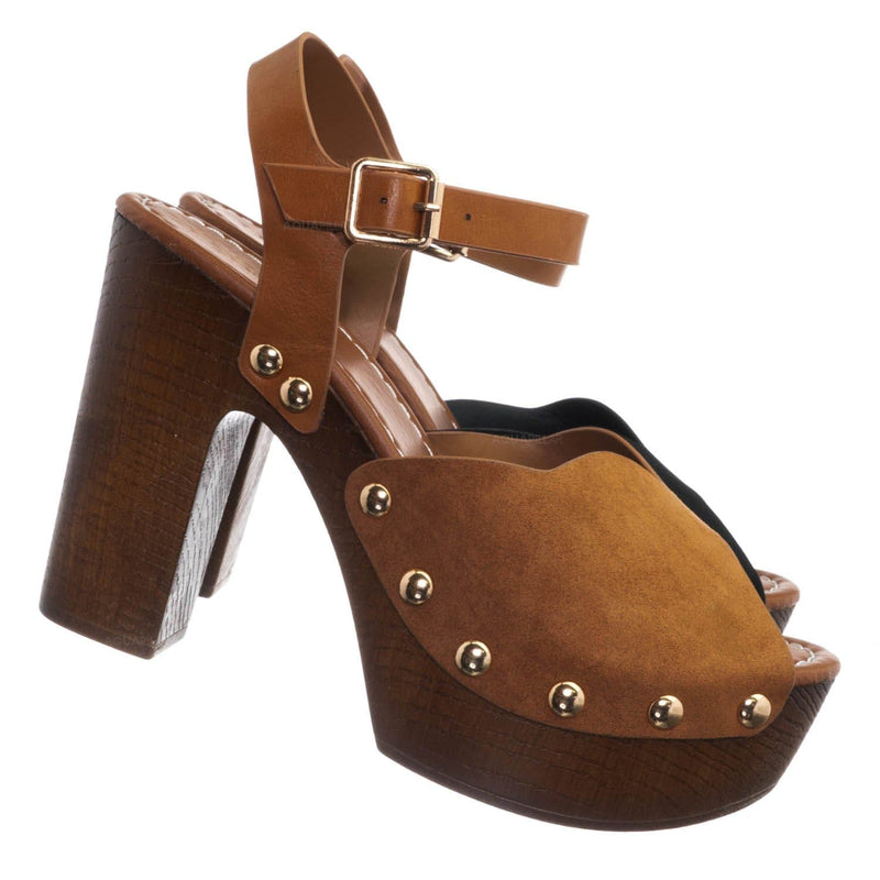Dark Camel Brown / Branch01 Chunky Block Heel Clogs - Sculpted Faux Hallow Wooden Platform Sandal