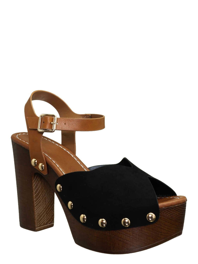 Black Fs / Branch01 Chunky Block Heel Clogs - Sculpted Faux Hallow Wooden Platform Sandal