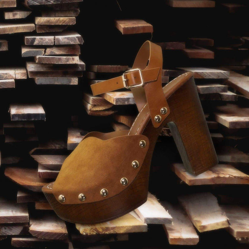 Branch01 Chunky Block Heel Clogs - Sculpted Faux Hallow Wooden Platform Sandal