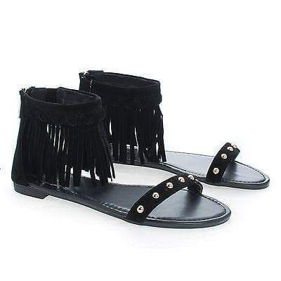 Candice53M By Bamboo, Moccasin Open Toe Studded Ankle Fringe Cuff Flat Sandals