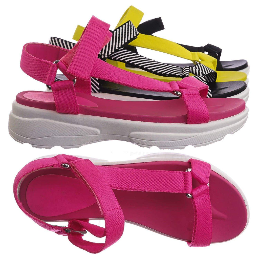 Neon Pink / Catch02 NPnkTap Hook & Loop Sporty Cushioned Footbed Sandal - Women Web Strap Flatform