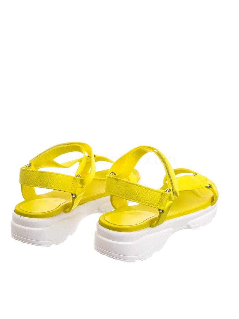 Neon Yellow / Catch02 NYlwTap Hook & Loop Sporty Cushioned Footbed Sandal - Women Web Strap Flatform