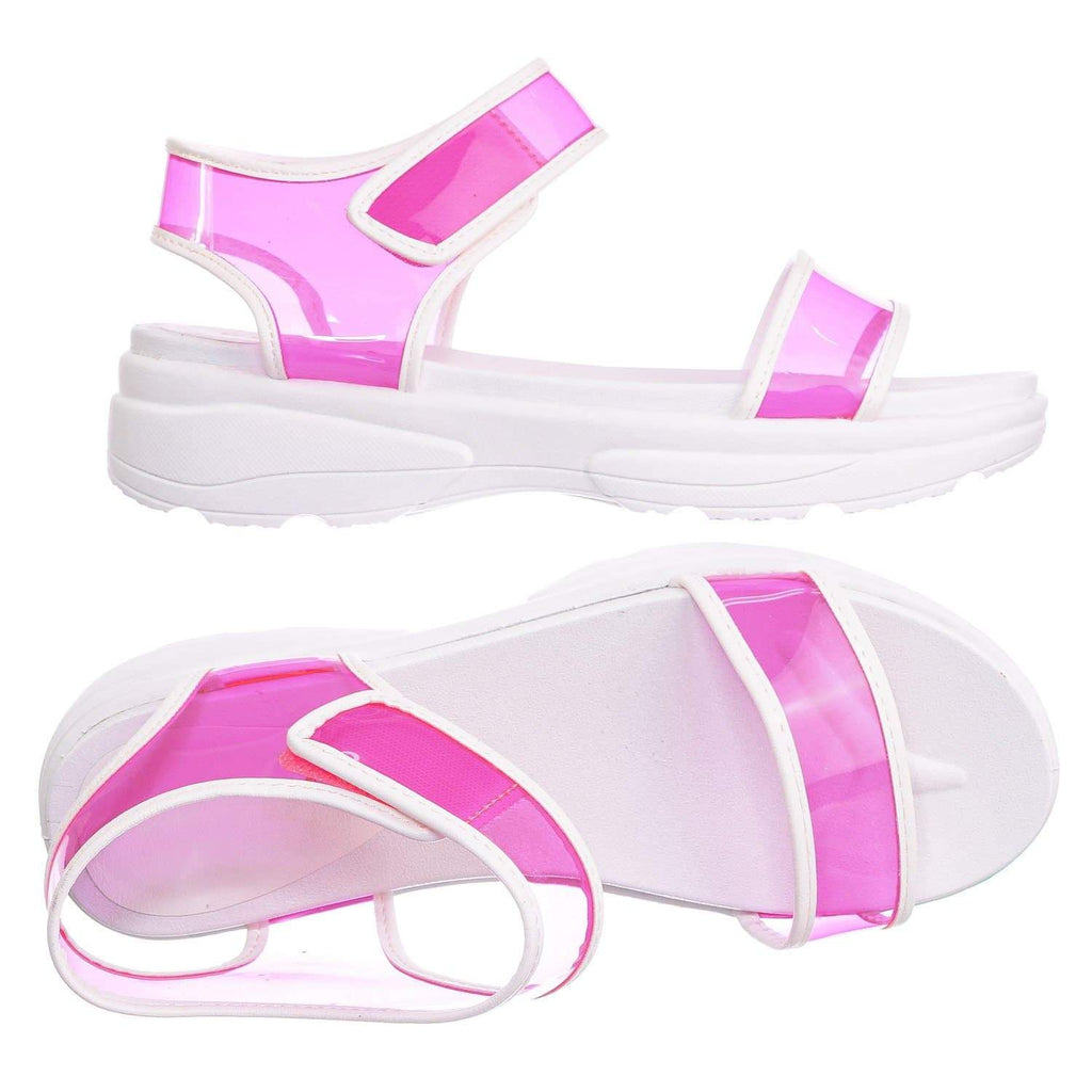 Neon Yellow / Catch13 NYlwPvc Sporty Lucite Clear Sandal - Women Neon Transparent Molded Footbed PVC
