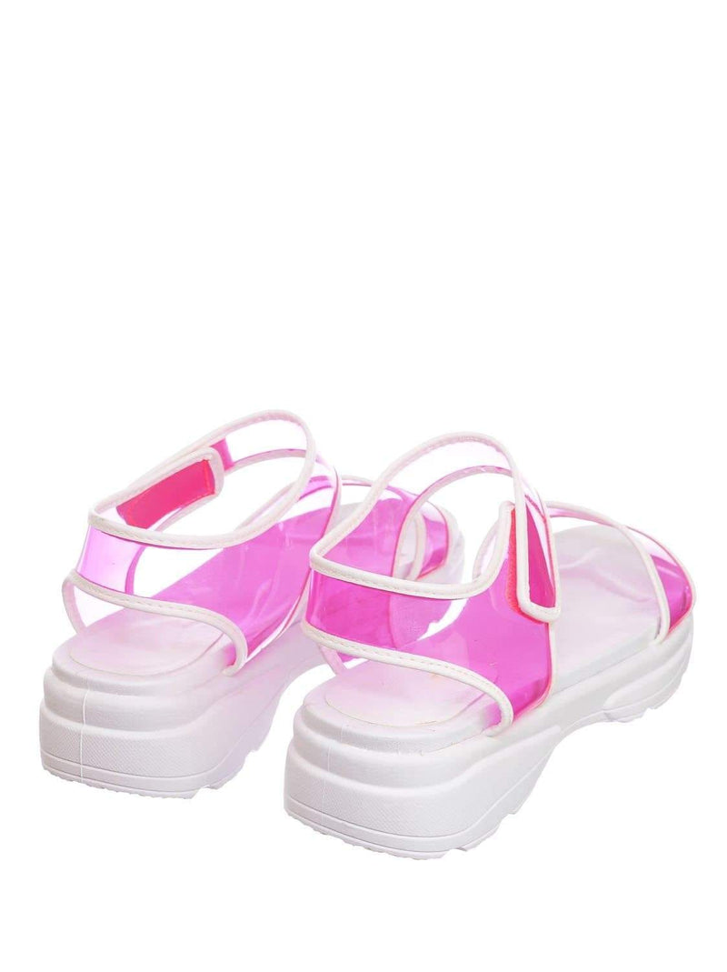 Neon Pink / Catch13 NPnkPvc Sporty Lucite Clear Sandal - Women Neon Transparent Molded Footbed PVC