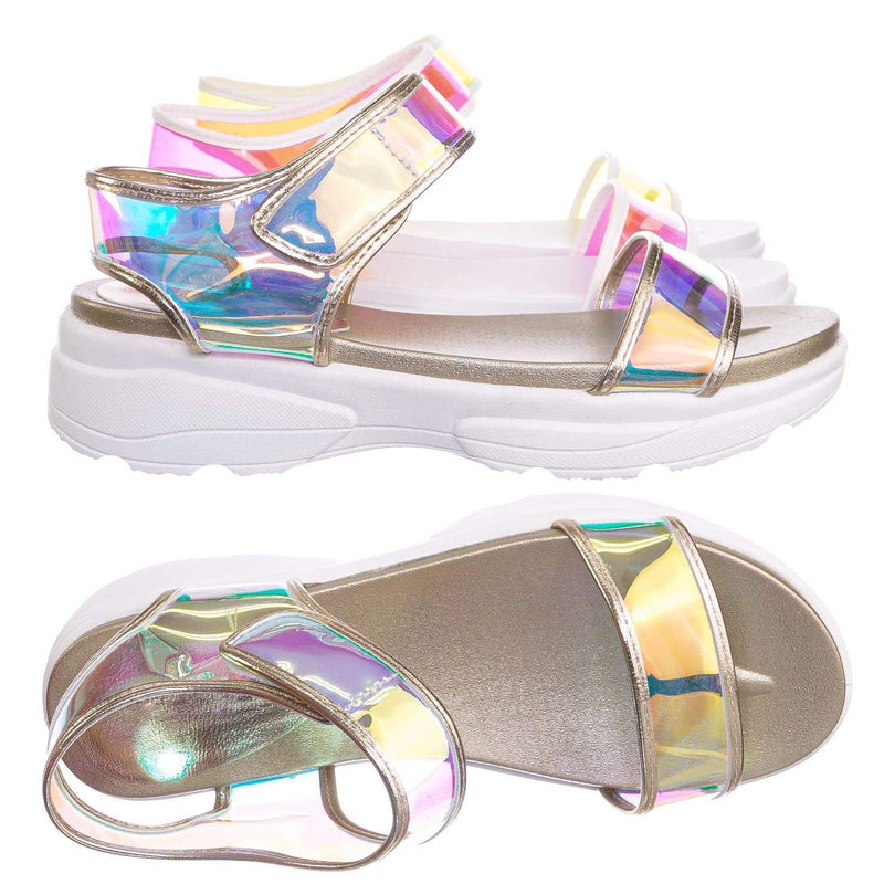 Iridescent / Catch13 IriPvc Sporty Lucite Clear Sandal - Women Neon Transparent Molded Footbed PVC