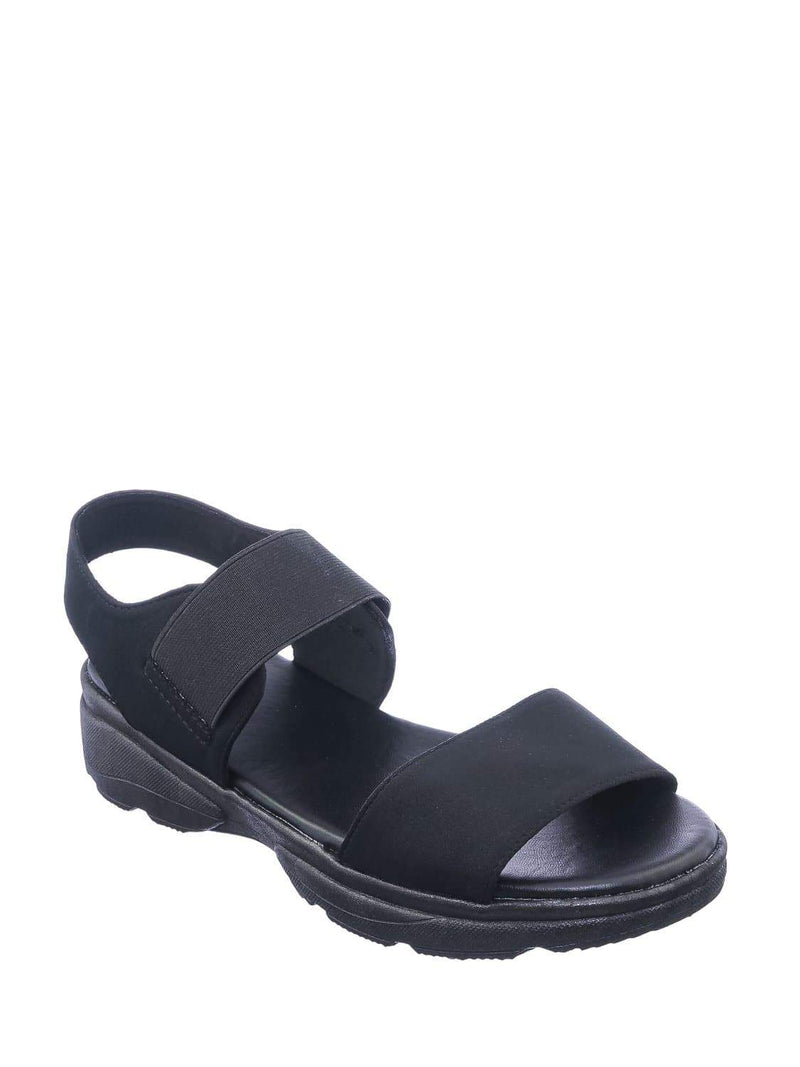 Black Lyc / Catch21 Lightweight Athleisure Platform Sandal - Women Elastic Ankle Strap Shoes