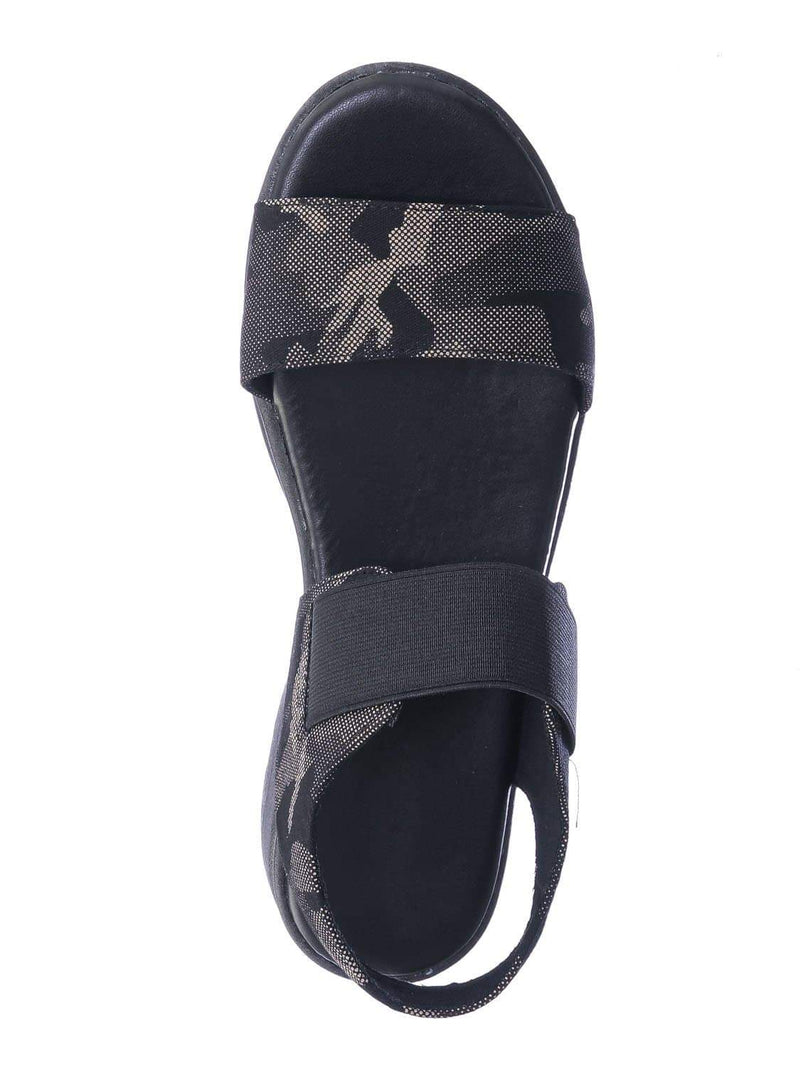 Gray Camouflage / Catch21 Lightweight Athleisure Platform Sandal - Women Elastic Ankle Strap Shoes