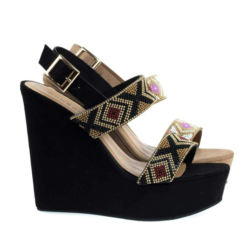 Charade65 Black By Bamboo, Platform Wedge Sandal w Festive Tribal Beaded Strap w Faux Suede