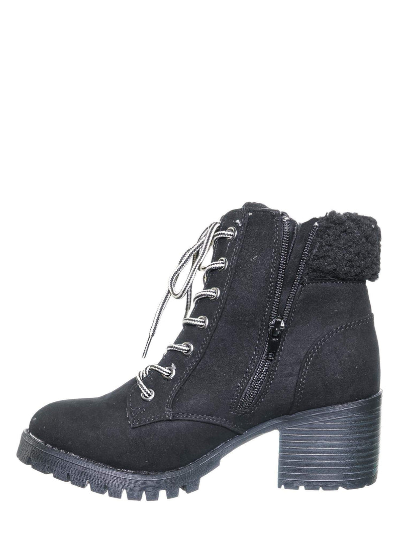 Black FS / Chief19 Black FS Mucker Combat Boots w Shearling - Women Faux Fur Lined Sport Bootie