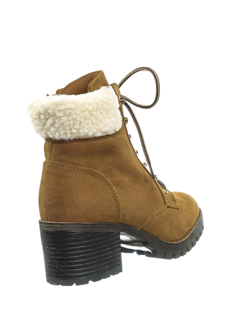 Tan Brown / Chief19 Tan Brown Mucker Combat Boots w Shearling - Women Faux Fur Lined Sport Bootie