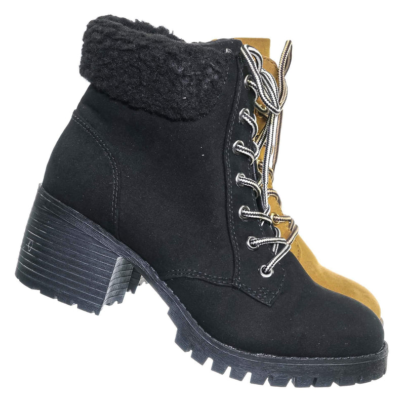 Chief19 Mucker Combat Boots w Shearling - Women Faux Fur Lined Sport Bootie