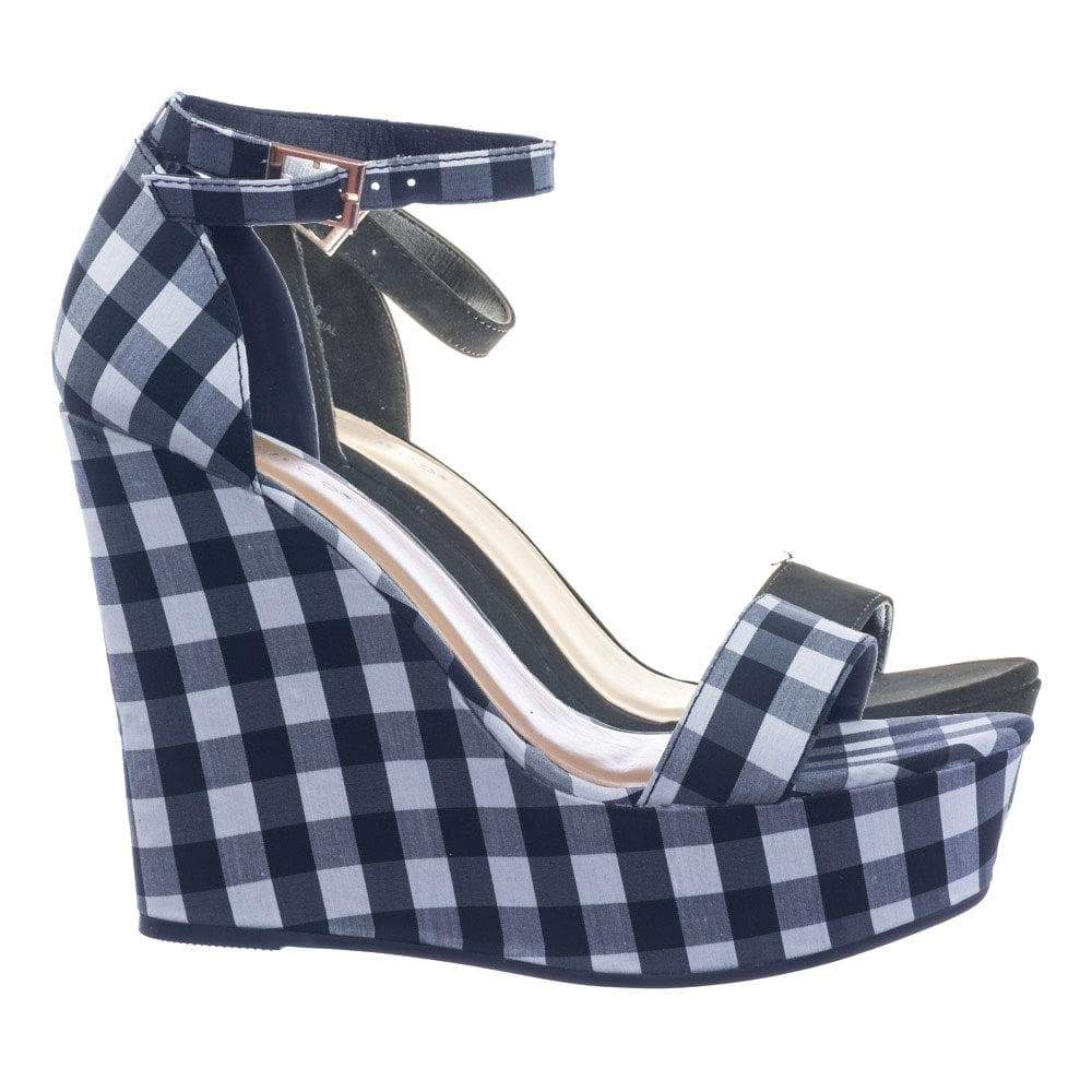 Choice25 by Bamboo Classic Platform Wedge Open Toe Dress Sandal in Gingham & Solid