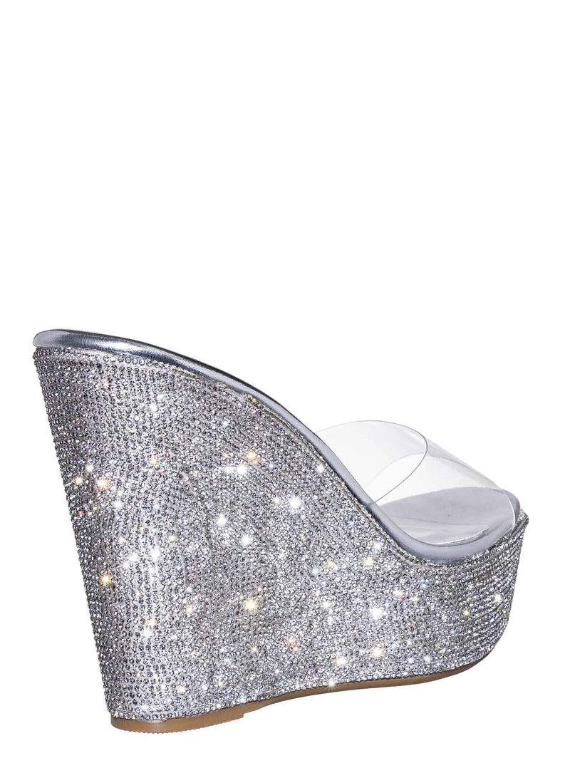 Clear Silver / Chosen12 Lucite Rhinestone Platform Wedge - Clear Transparent Slipper Sandal