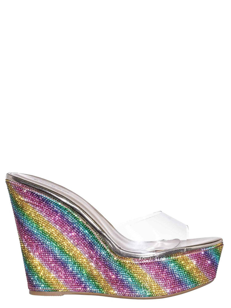 Rainbow / Chosen12 Lucite Rhinestone Platform Wedge - Clear Transparent Slipper Sandal