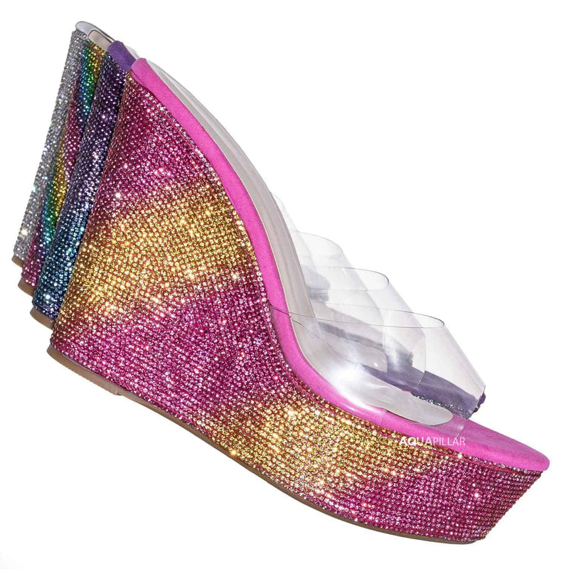 Pink and Yellow / Chosen12 Lucite Rhinestone Platform Wedge - Clear Transparent Slipper Sandal