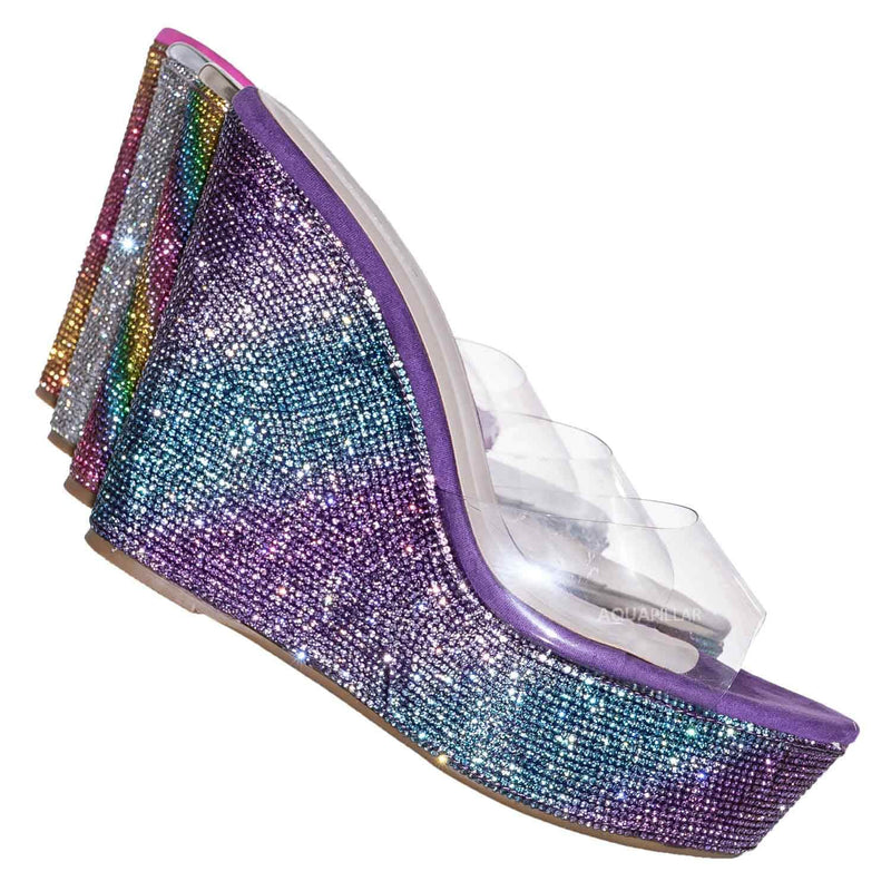 Peach Purple / Chosen12 Lucite Rhinestone Platform Wedge - Clear Transparent Slipper Sandal