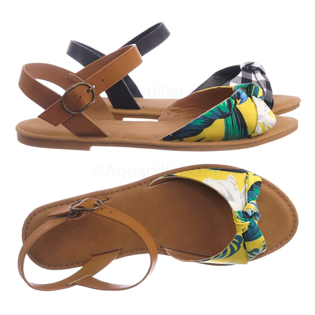 Yellow Multi / Coastline98 YelMul Ankle Strap Flat Sandal - Women Summer Slip On Shoes
