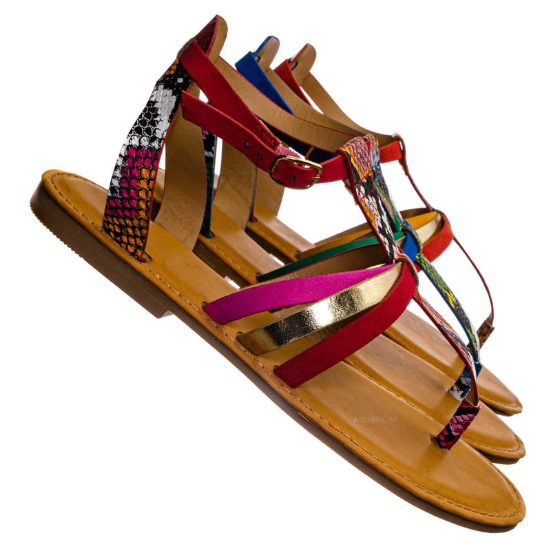 Red Multi / Combo25 Strappy Gladiator Sandal - Women Festival Multi Color Thong Flat Shoes