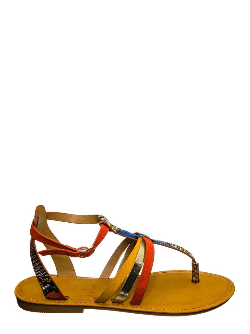 Orange Multi / Combo25 Strappy Gladiator Sandal - Women Festival Multi Color Thong Flat Shoes