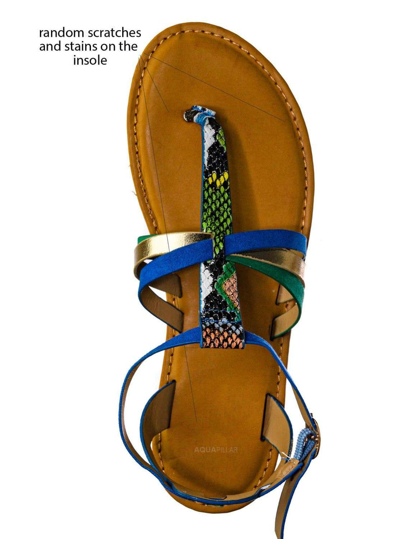 Blue Multi / Combo25 Strappy Gladiator Sandal - Women Festival Multi Color Thong Flat Shoes