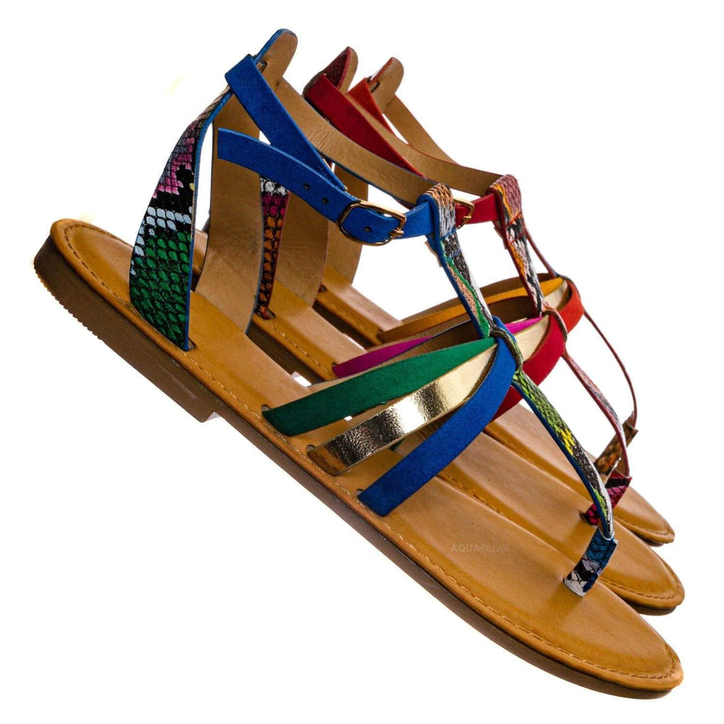 Combo25 Strappy Gladiator Sandal - Women Festival Multi Color Thong Flat Shoes