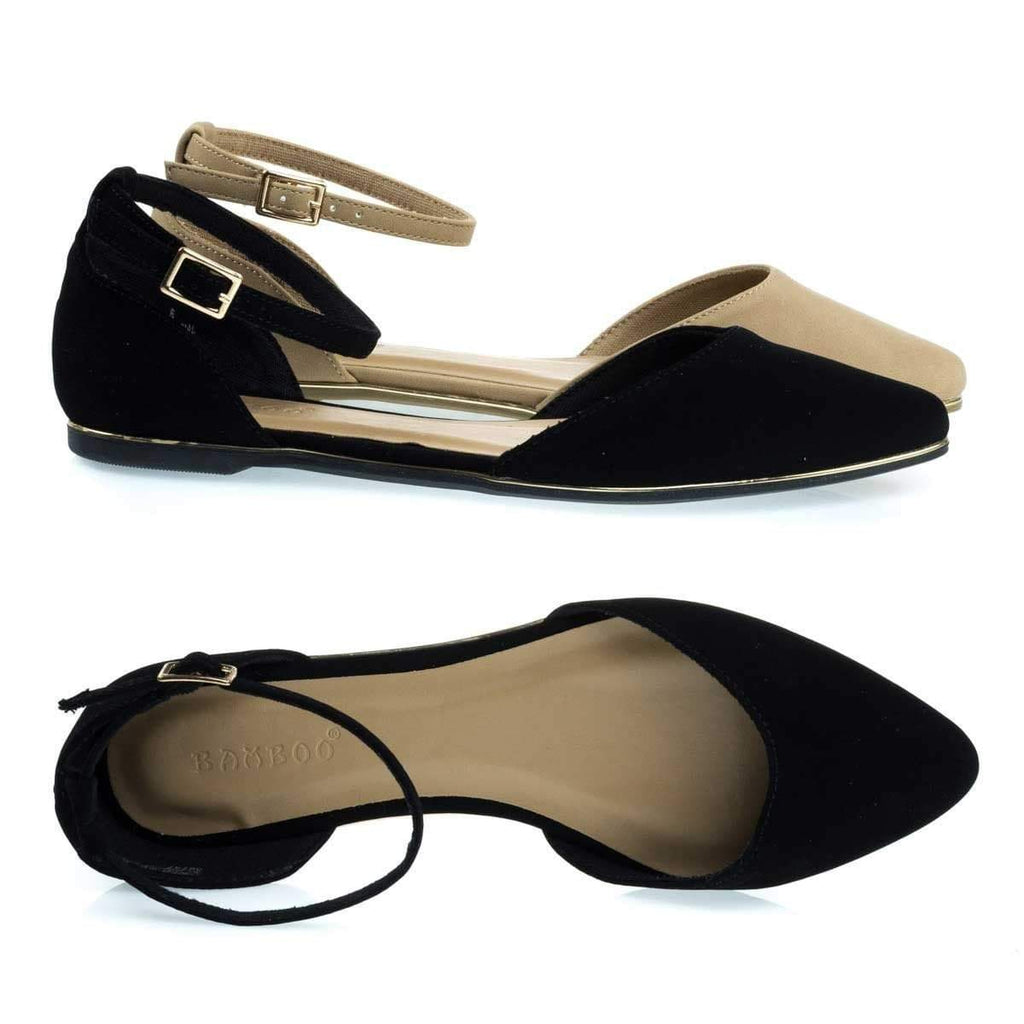 Confess01 Gold Trimmed Outsole Flat w Double Open Shank D'Orsay & Ankle Strap
