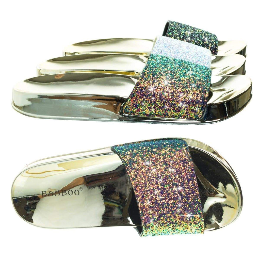 Creative02 Holograph Glitter Slipper, Metallic Molded Footbed, Waffel Outsole