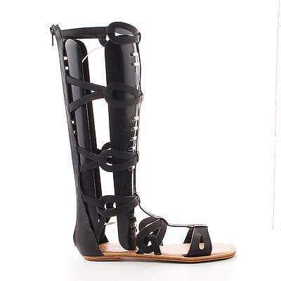 Crossing03 By Bamboo, Open Toe Mid Calf Slip On Zipper Gladiator Flat Sandal