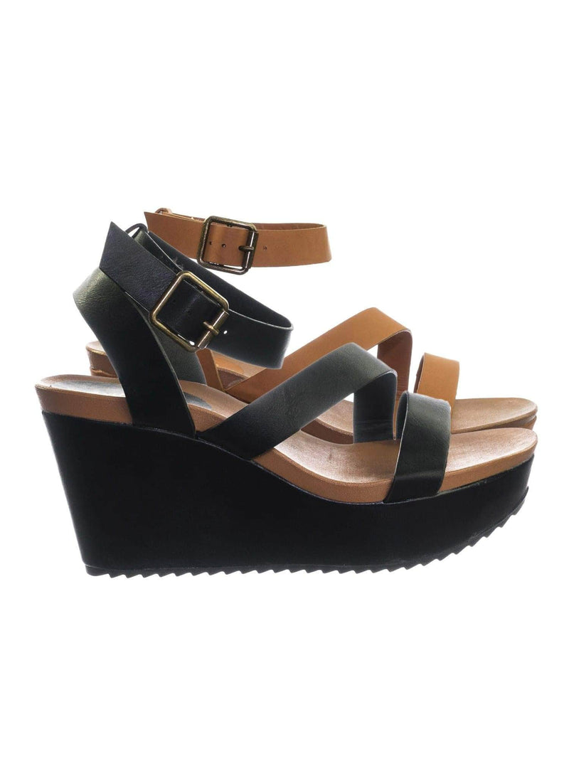 Cuddle03 BlkBnh Vintage Stained Worn Out Platform Wedge Ankle Strap Open Toe Sandal