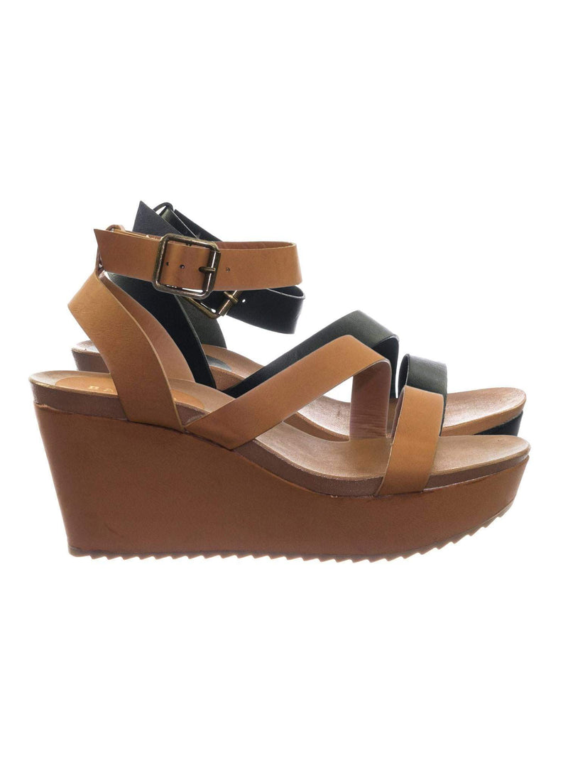 Cuddle03 TanBnh Vintage Stained Worn Out Platform Wedge Ankle Strap Open Toe Sandal